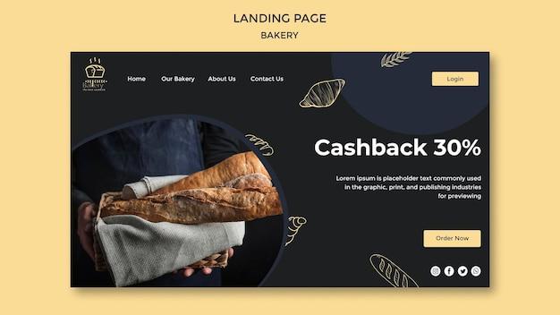 Página de destino do modelo de anúncio de padaria