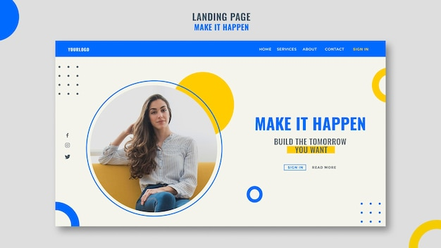 Página de destino do modelo de anúncio empresarial de memphis Psd Premium
