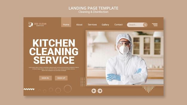 Página de destino do modelo de limpeza e desinfecção