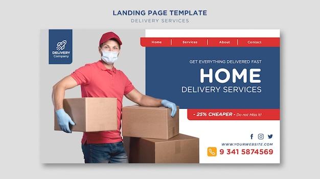 Página de destino do modelo de serviços de entrega