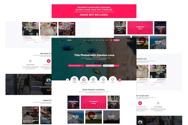 Página de destino do modelo de site de reservas de viagens responsivo