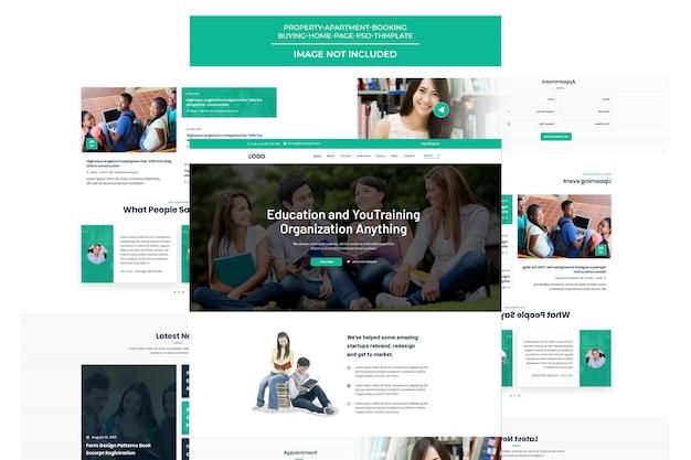 Página de destino do modelo de treinamento e cursos on-line