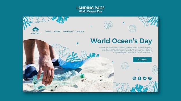 Página de destino do modelo do dia mundial do oceano