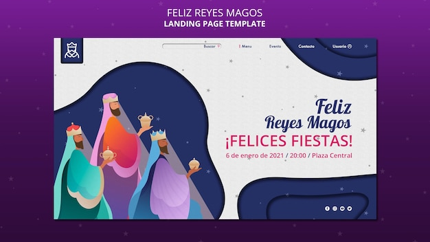 Página de destino do modelo feliz reyes magos