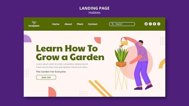 Página de destino do passatempo de jardinagem