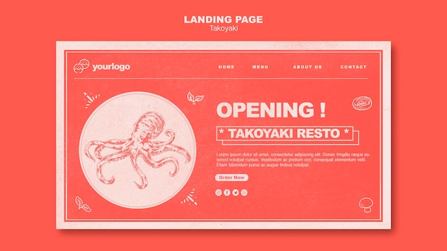 Página de destino do restaurante takoyaki