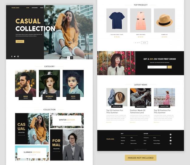 Página de destino do site de comércio eletrônico da moda