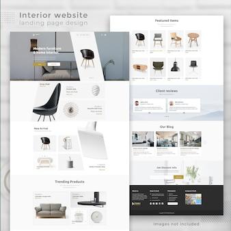 Página de destino do site de comércio eletrônico interior moderno