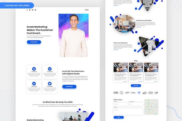 Página de destino do site de marketing