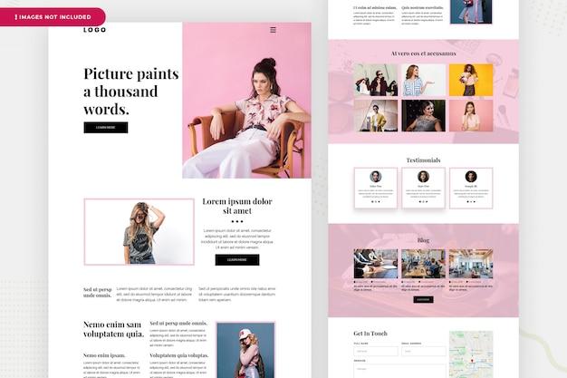Página de destino do site de moda