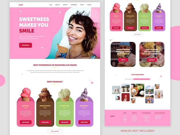 Página de destino do site de produtos alimentícios
