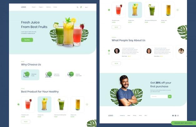 Página de destino do site do produto