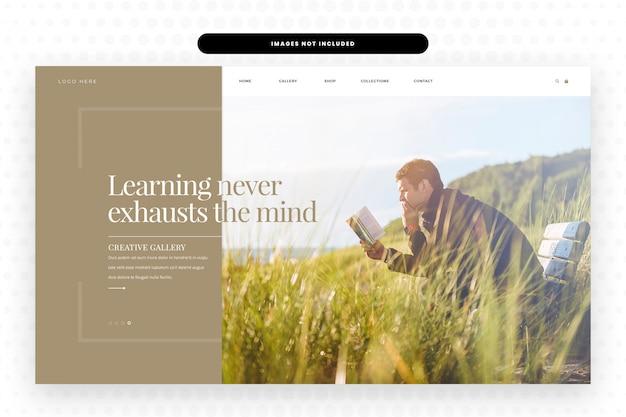 Página de destino do site leitura e aprendizado, banner de herói e modelo de site