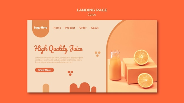 Página de destino do suco de laranja