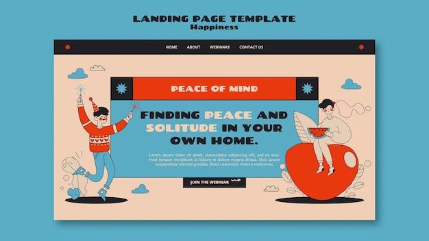 Página de destino do webinar sobre felicidade