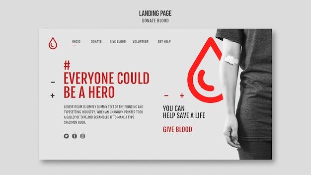 Página de destino doar sangue