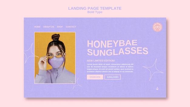 Página de destino dos óculos de sol em negrito
