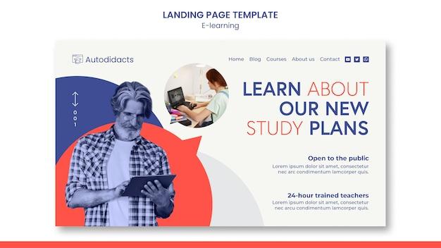 Página de destino dos planos de estudo de e-learning
