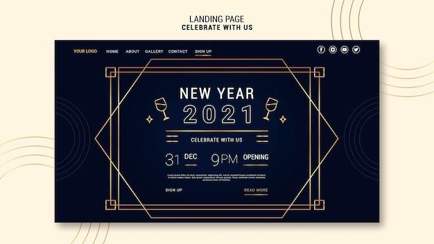 Página de destino elegante para festa de ano novo