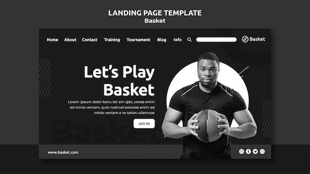 Página de destino em preto e branco com atleta masculino de basquete