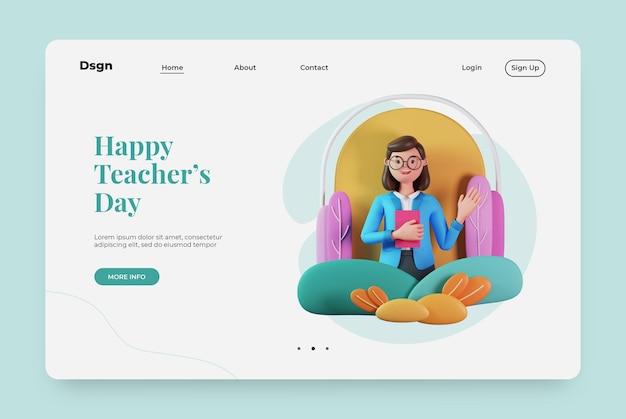 Página de destino feliz dia dos professores com personagem de renderização em 3d