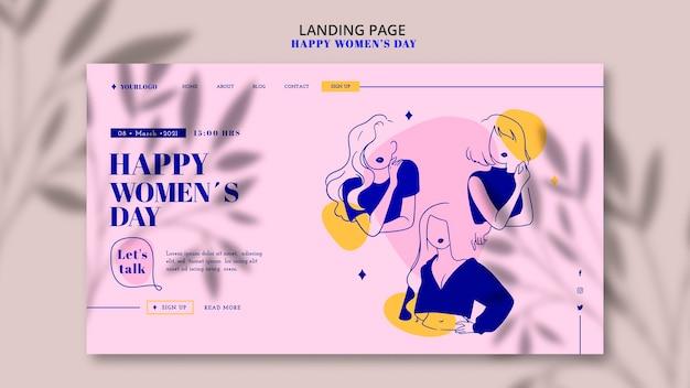 Página de destino feliz do dia da mulher