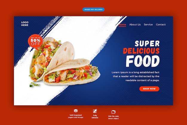 Página de destino horizontal de comida deliciosa restaurante