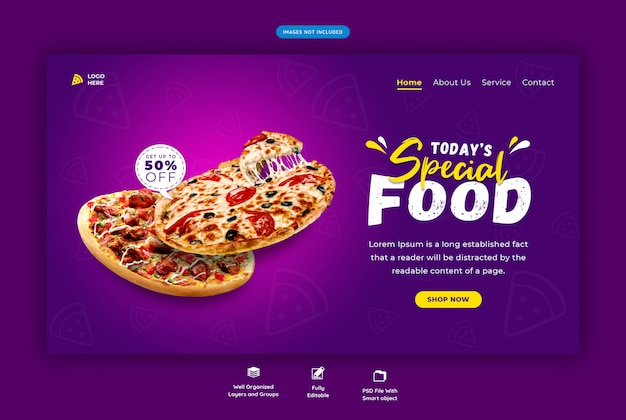 Página de destino horizontal de comida para pizza ou restaurante