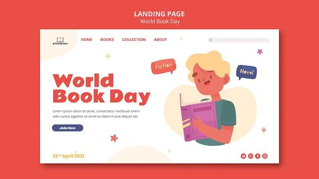 Página de destino ilustrada do dia mundial do livro