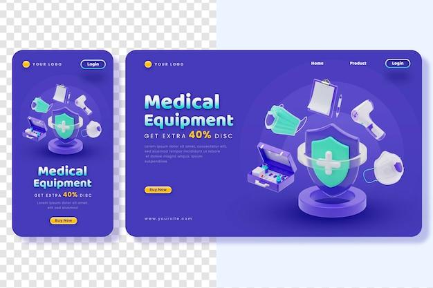 Página de destino médica e interface do aplicativo com renderização 3d