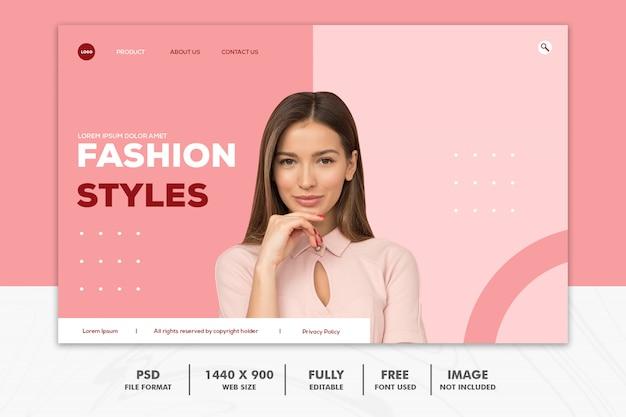 Página de destino moda web rosa