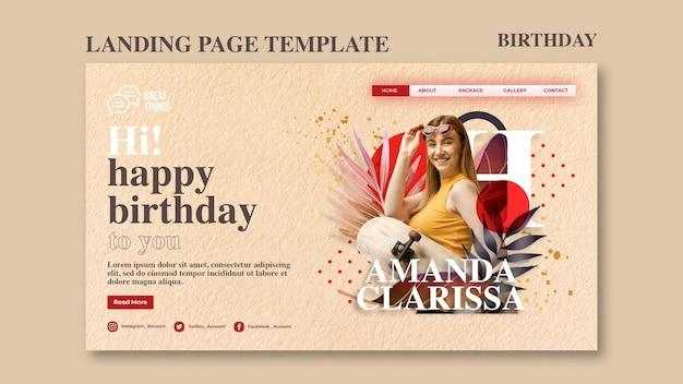 Página de destino para a celebração do aniversário