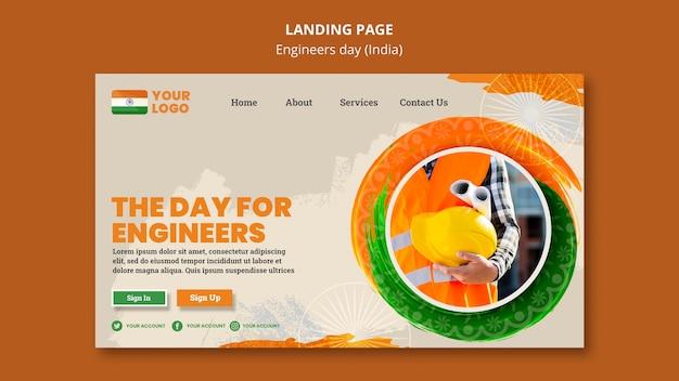 Página de destino para a celebração do dia dos engenheiros