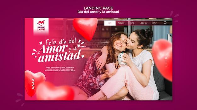 Página de destino para a celebração do dia dos namorados