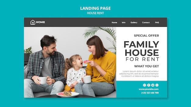 Página de destino para aluguel de casa de família