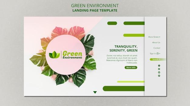 Página de destino para ambiente verde