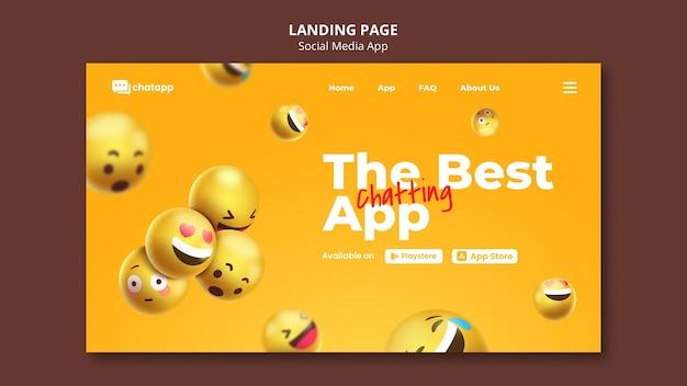 Página de destino para aplicativo de bate-papo de mídia social com emojis
