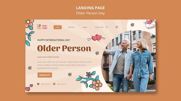 Página de destino para assistência e cuidados a idosos