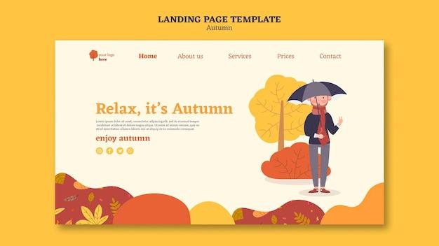 Página de destino para atividades ao ar livre de outono