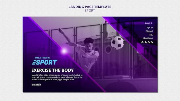 Página de destino para atividades esportivas