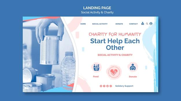 Página de destino para atividades sociais e caridade