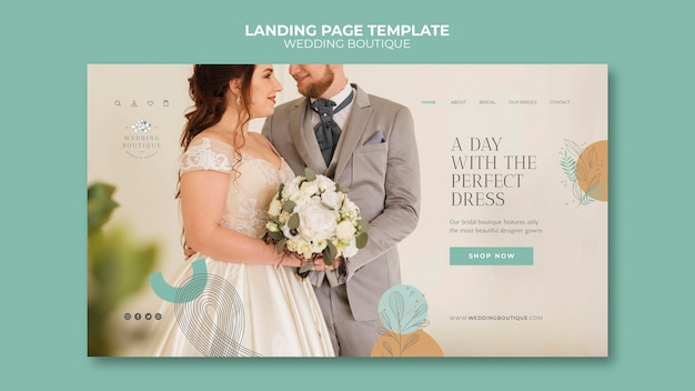 Página de destino para boutique de casamento elegante
