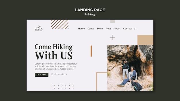 Página de destino para caminhadas na natureza