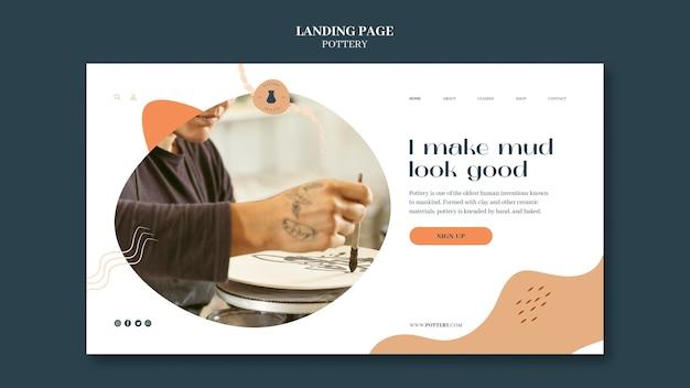 Página de destino para cerâmica com vasos de barro