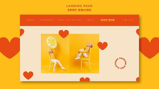 Página de destino para compras on-line
