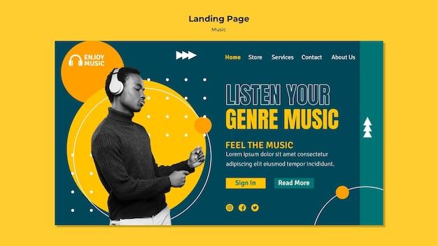 Página de destino para curtir música