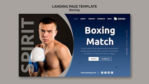 Página de destino para esporte de boxe com boxeador masculino