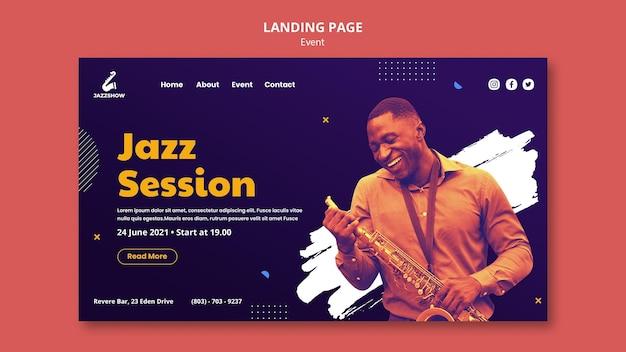 Página de destino para evento de música jazz