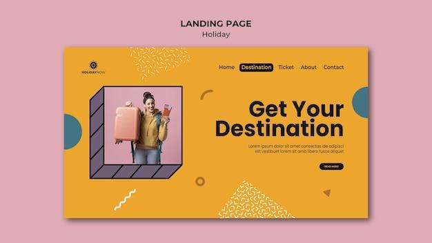 Página de destino para férias com mochileiras