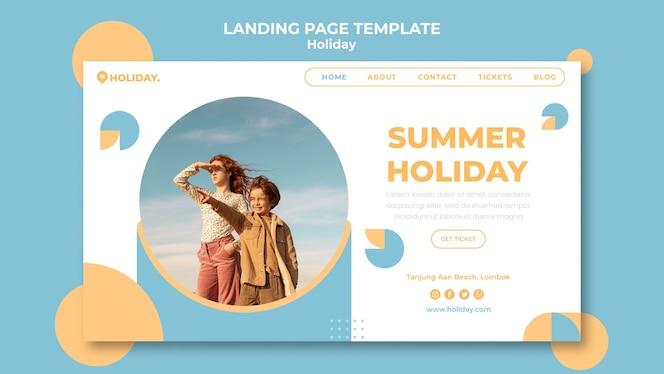 Página de destino para férias de verão